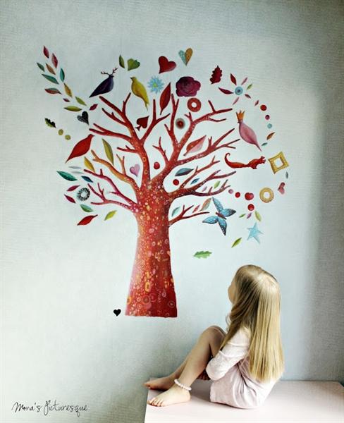Adesivo murale albero giocattoli in legno giochi in - Adesivo albero ikea ...