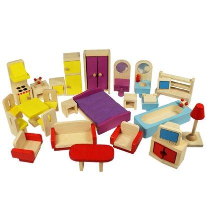 Immagine di arredo completo per casa bambole