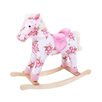 Immagine di cavallo a dondolo fiori in stoffa