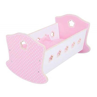 Immagine di culla per bambole rosa