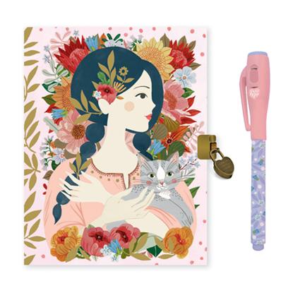 Immagine di diario con penna magica rosa