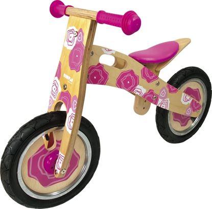 bicicletta senza pedali fiori rosa