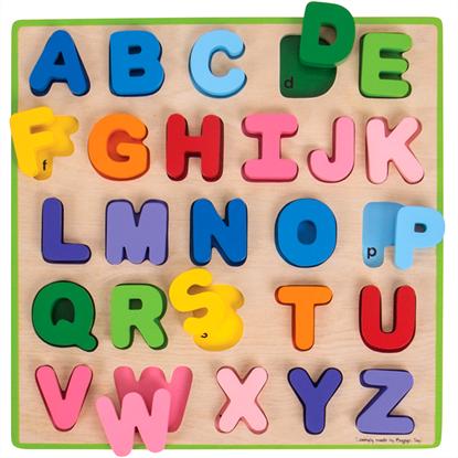 tavola dell'alfabeto in legno