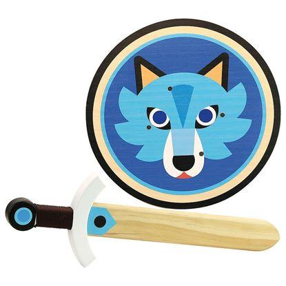 spada e scudo in legno lupo