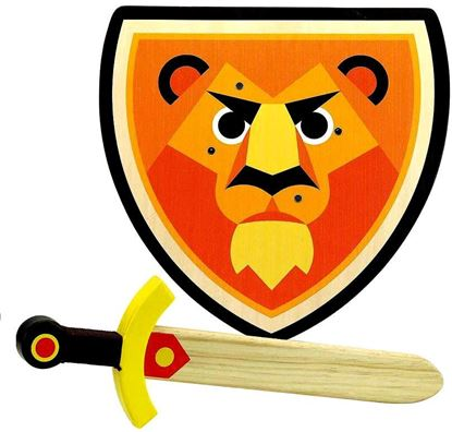 spada e scudo in legno leone